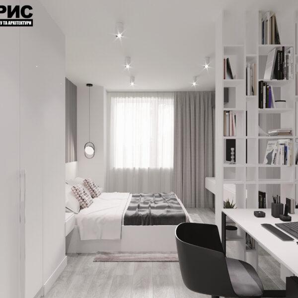 """Дизайн-проект двухкомнатной квартиры ЖК """"Дуэт"""", спальня вид справа"""