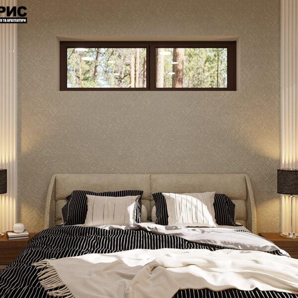 Дизайн-проект частного дома, спальня вид спереди
