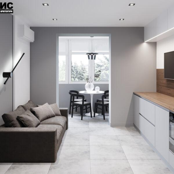 Дизайн интерьера двухкомнатной квартиры в ЖК «Архитекторов», кухня с видом на балкон