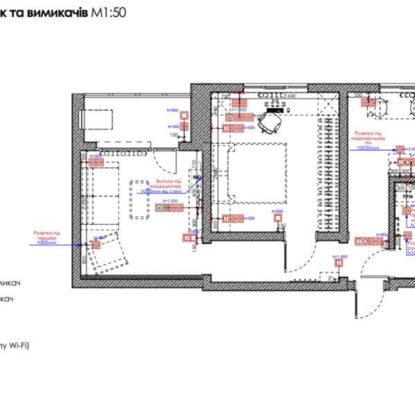 "Дизайн-проект интерьера квартиры ЖК ""Металлист"", план размещения розеток и включателей"