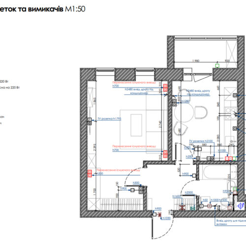 "Дизайн-проект интерьера однокомнатной квартиры ЖК ""Левада 2"", план размещения розеток"