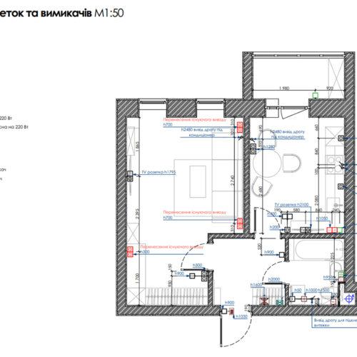 """Дизайн-проекту інтер'єру однокімнатної квартири ЖК """"Левада 2"""", план розеток та вимикачів"""