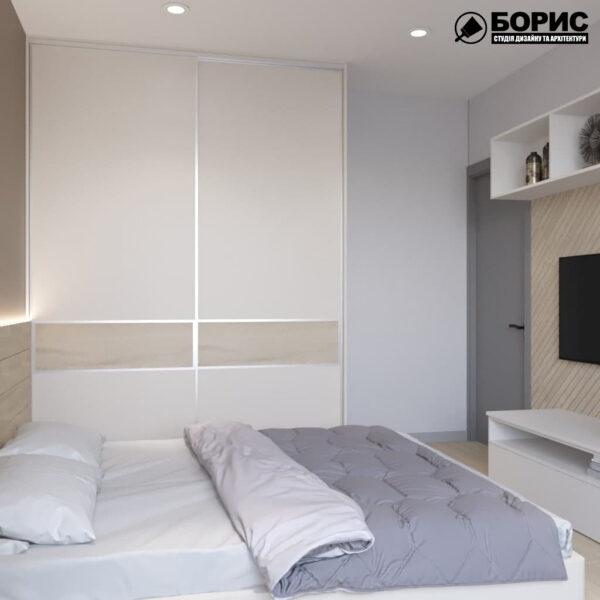 Дизайн-проект трехкомнатной квартиры по адресу: ул. Клочковская, 201-а, спальня вид справа