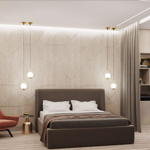 """Дизайн-проект трехкомнатной квартиры ЖК """"Сокольники"""", спальня вид спереди"""
