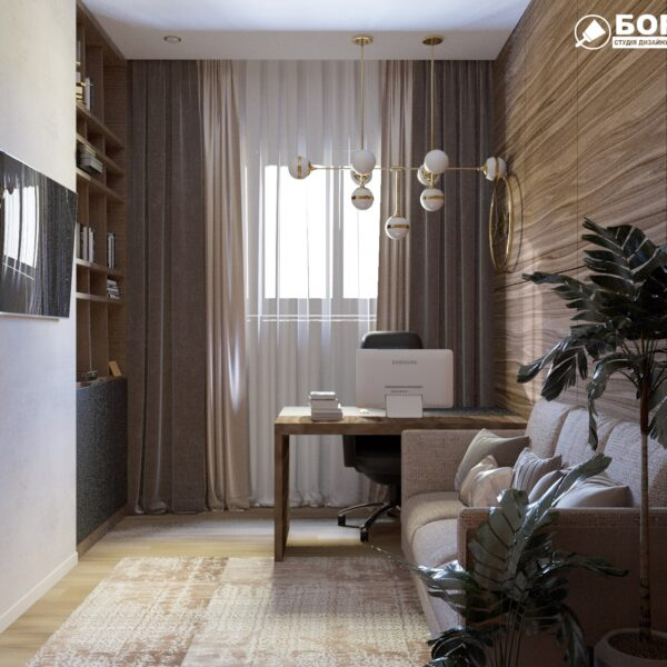 """Дизайн-проект двухэтажной квартиры ЖК """"Клеменова Дача"""", кабинет вид спереди"""