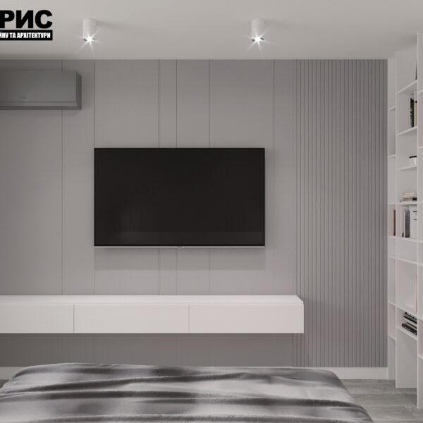 """Дизайн-проект двухкомнатной квартиры ЖК """"Дуэт"""", спальня вид сзади"""