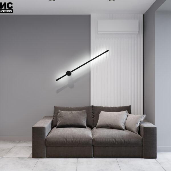 Дизайн интерьера двухкомнатной квартиры в ЖК «Архитекторов», кухня с видом на диванчик
