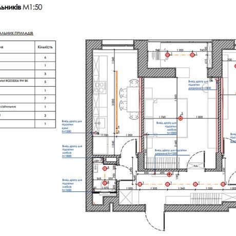 """Дизайн інтер'єру квартири ЖК """"Пролісок"""", план розміщення світильників"""