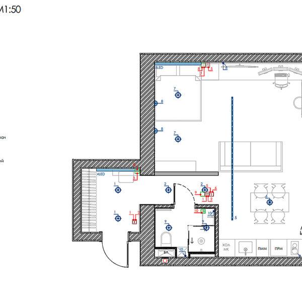 """Дизайн-проект інтер'єра квартири ЖК """"Московський"""", план освітлення"""
