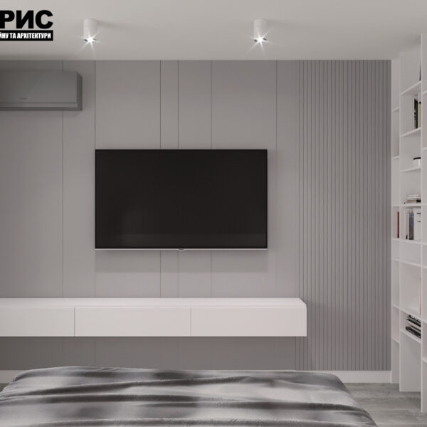 "Дизайн-проект двокімнатної квартири ЖК ""Дует"", спальня вид ззаду"