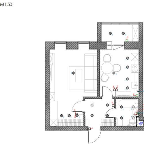 """Дизайн-проект интерьера однокомнатной квартиры ЖК """"Левада 2"""", план групп освещения"""