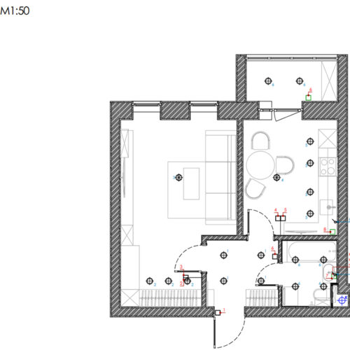 """Дизайн-проекту інтер'єру однокімнатної квартири ЖК """"Левада 2"""", план груп освітлення"""