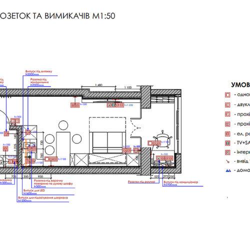 Дизайн інтер'єру квартири-студії, план розеток і вимикачів