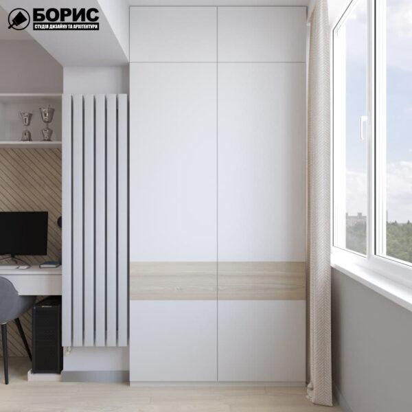 Дизайн-проект трехкомнатной квартиры по адресу: ул. Клочковская, 201-а, лоджия вид слева