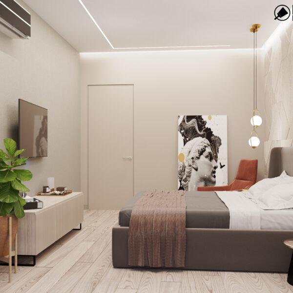 """Дизайн-проект трехкомнатной квартиры ЖК """"Сокольники"""", спальня вид слева"""