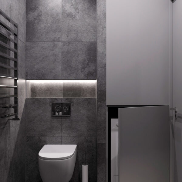 """Дизайн-проект однокімнатної квартири ЖК """"Пташка"""", санвузол вид спереду"""