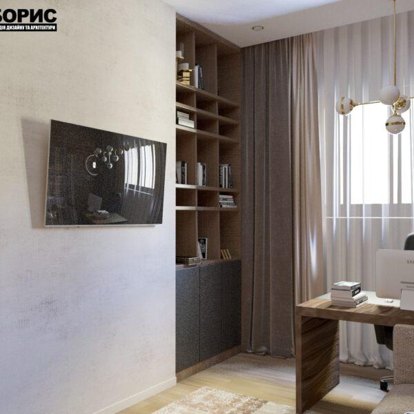 """Дизайн-проект двухэтажной квартиры ЖК """"Клеменова Дача"""", кабинет вид слева"""