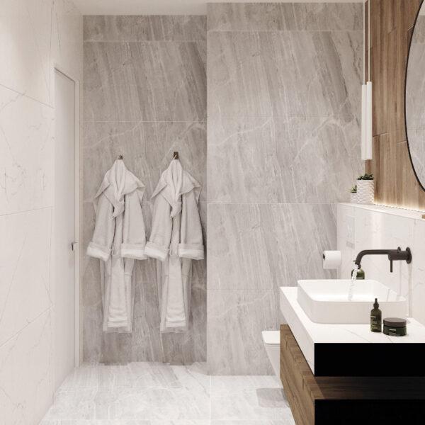 """Дизайн-проект однокімнатної квартири ЖК """"Райдужний"""", санвузол вид зліва"""