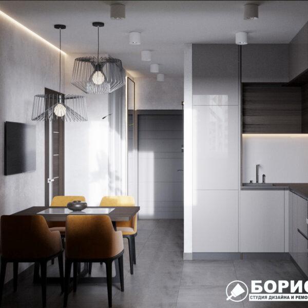 """Дизайн-проект однокомнатной квартиры ЖК """"Архитекторов"""", кухня вид слева"""