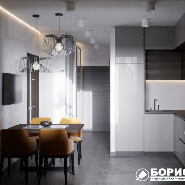 """Дизайн-проект однокімнатної квартири ЖК """"Архітекторів"""", кухня вид зліва"""