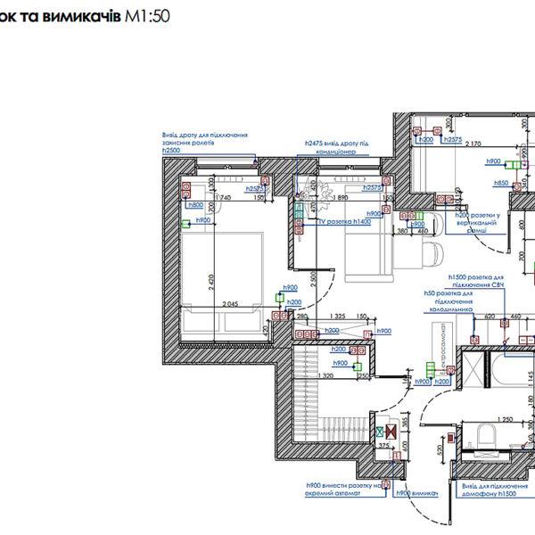 """Дизайн інтер'єру квартири ЖК """"Пташка"""", план розміщення розеток і вимикачів"""