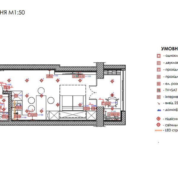 Дизайн интерьера квартиры-студии, план групп освещения