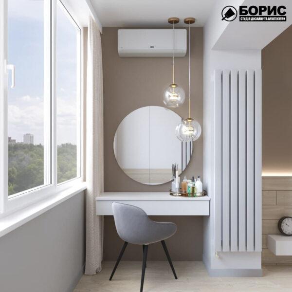 Дизайн-проект трехкомнатной квартиры по адресу: ул. Клочковская, 201-а, лоджия вид справа