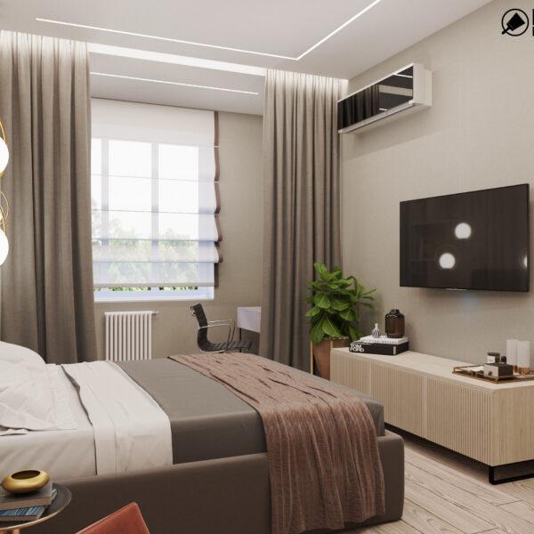 """Дизайн-проект трехкомнатной квартиры ЖК """"Сокольники"""", спальня вид справа"""
