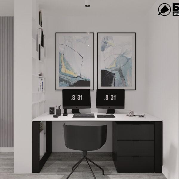 """Дизайн-проект двухкомнатной квартиры ЖК """"Дуэт"""", спальня вид сбоку"""