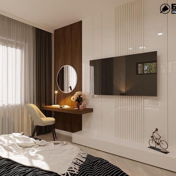 Дизайн-проект частного дома, спальня вид сзади