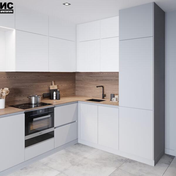 Дизайн интерьера двухкомнатной квартиры в ЖК «Архитекторов», кухня с видом сбоку