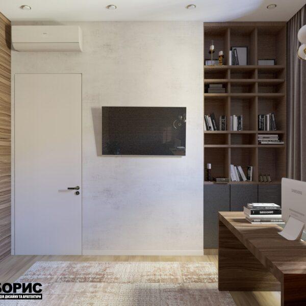 """Дизайн-проект двухэтажной квартиры ЖК """"Клеменова Дача"""", кабинет вид сзади"""