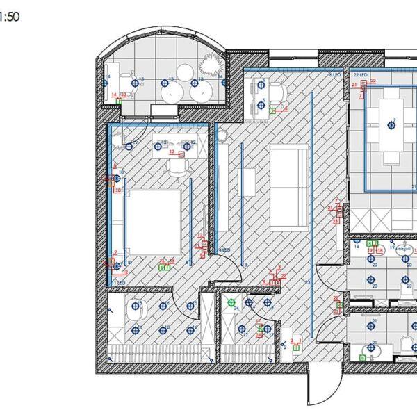 """Дизайн інтер'єру квартири ЖК """"Інфініті"""", план груп освітлення"""