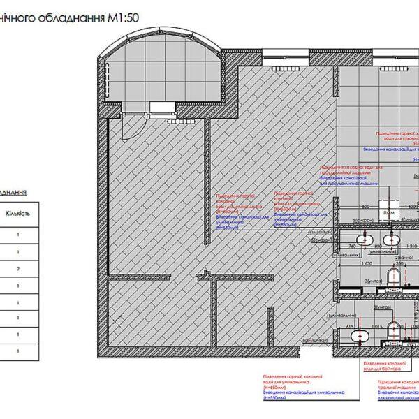 """Дизайн інтер'єру квартири ЖК """"Інфініті"""", план сантехнічного обладнання"""