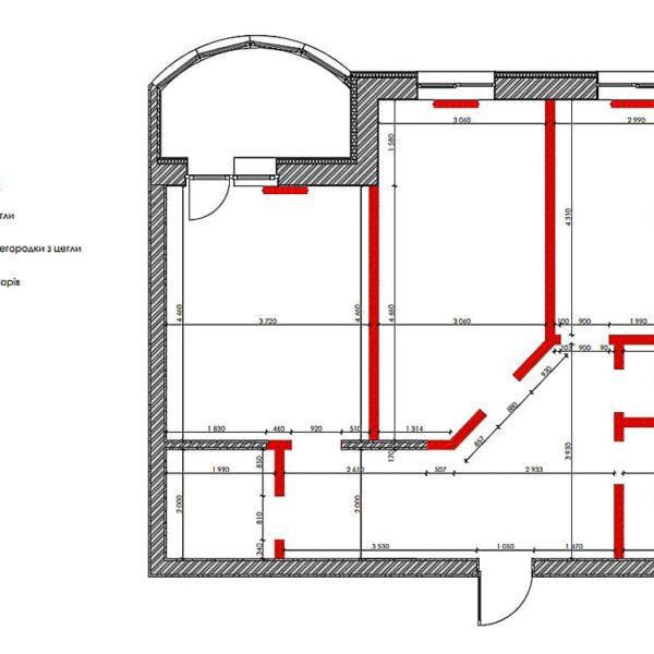 """Дизайн інтер'єру квартири ЖК """"Інфініті"""", план демонтажу"""