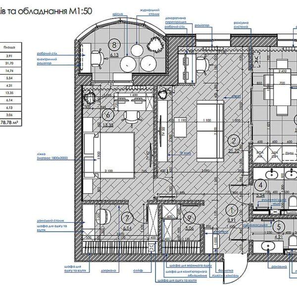 """Дизайн інтер'єру квартири ЖК """"Інфініті"""", план розміщення меблів і техніки"""