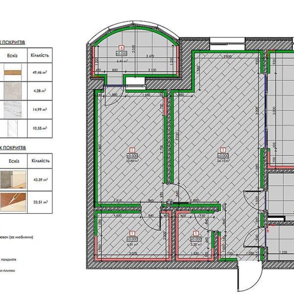 """Дизайн інтер'єру квартири ЖК """"Інфініті"""", план підлоги"""