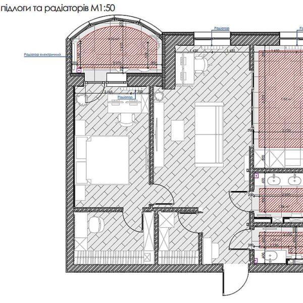 """Дизайн інтер'єру квартири ЖК """"Інфініті"""", план теплої підлоги"""
