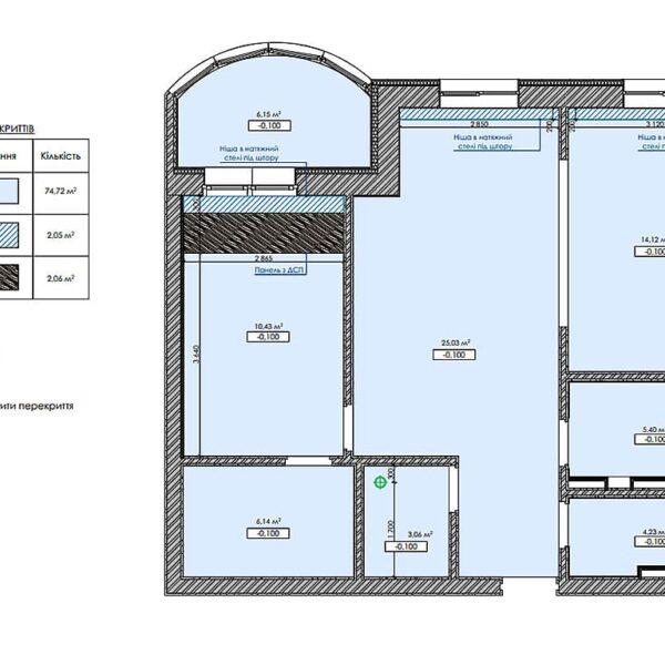 """Дизайн інтер'єру квартири ЖК """"Інфініті"""", план стелі"""