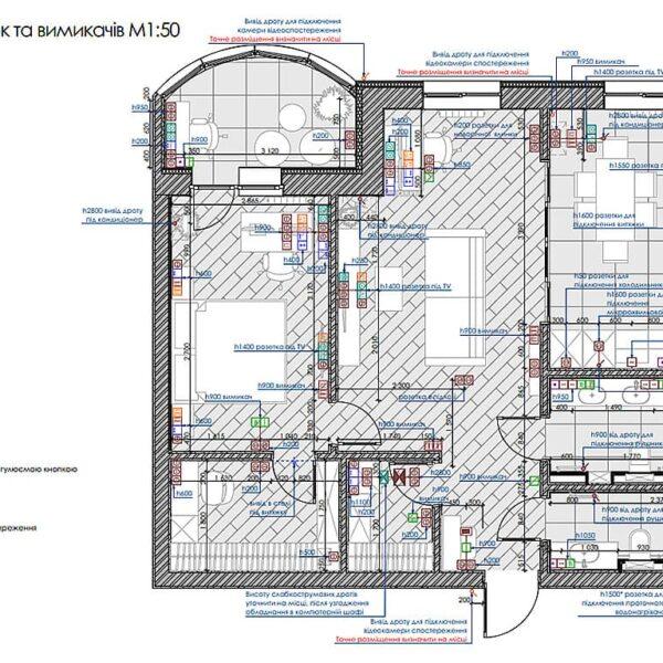 """Дизайн інтер'єру квартири ЖК """"Інфініті"""", план розеток та вимикачів"""