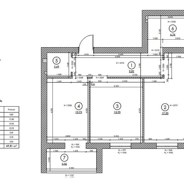 """Дизайн интерьера двухкомнатной квартиры в ЖК """"Архитекторов"""", план обмерочный"""