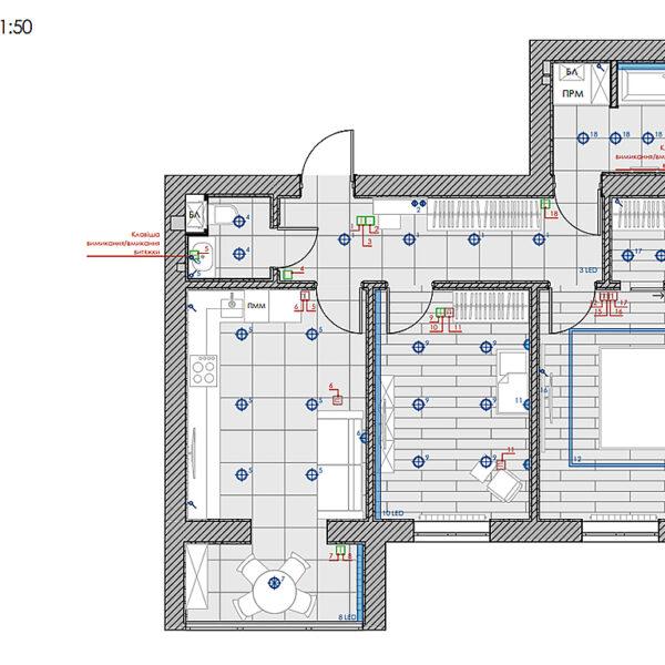 """Дизайн интерьера двухкомнатной квартиры в ЖК """"Архитекторов"""", план групп освещения"""