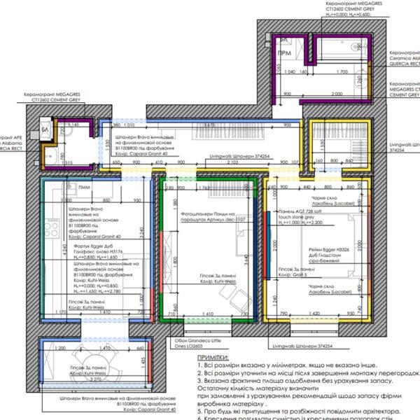 """Дизайн интерьера двухкомнатной квартиры в ЖК """"Архитекторов"""", план отделки стен"""