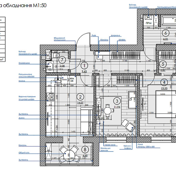 """Дизайн интерьера двухкомнатной квартиры в ЖК """"Архитекторов"""", план размещения мебели и техники"""