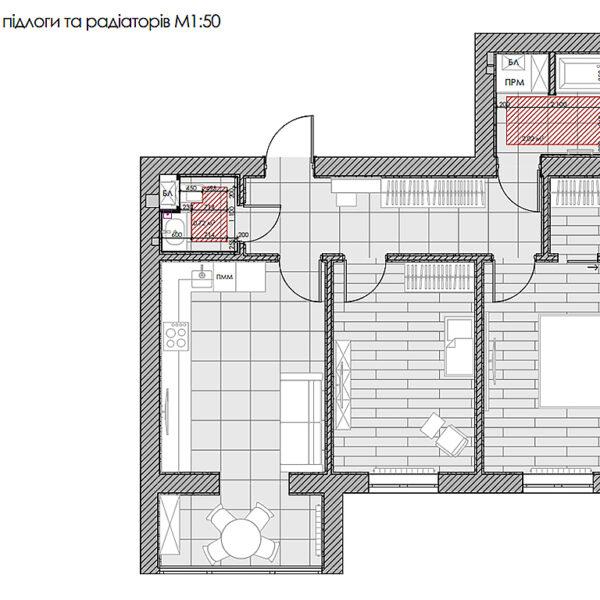"""Дизайн интерьера двухкомнатной квартиры в ЖК """"Архитекторов"""", план тёплого пола"""