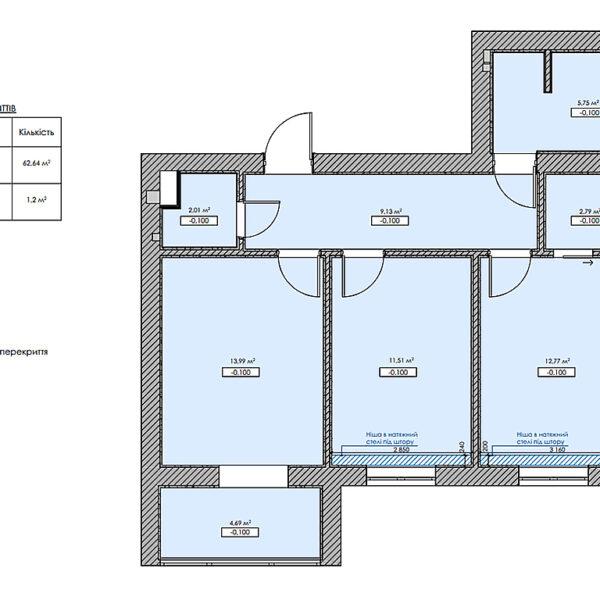 """Дизайн интерьера двухкомнатной квартиры в ЖК """"Архитекторов"""", план пола"""