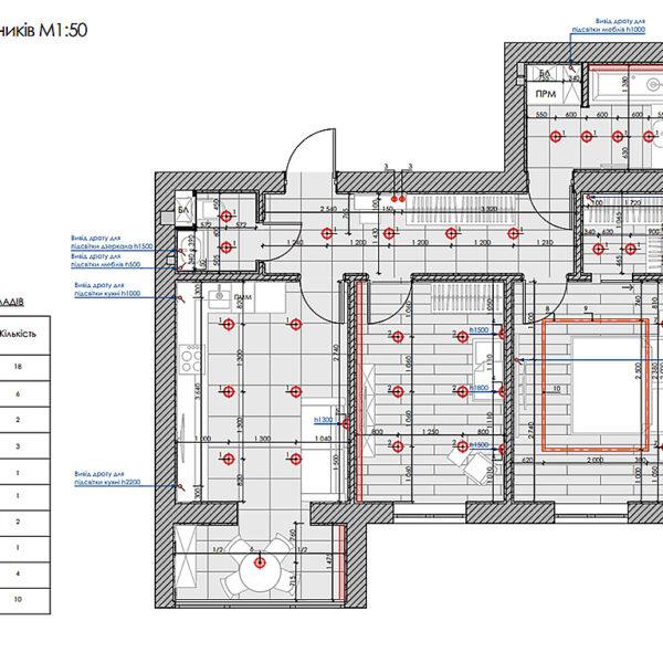 """Дизайн интерьера двухкомнатной квартиры в ЖК """"Архитекторов"""", план размещения светильников"""