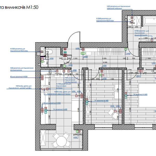"""Дизайн интерьера двухкомнатной квартиры в ЖК """"Архитекторов"""", план розеток и выключателей"""