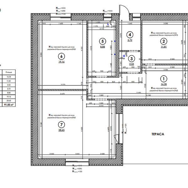 Дизайн-проект інтер'єру будинку смт Бабаї, план обмірний