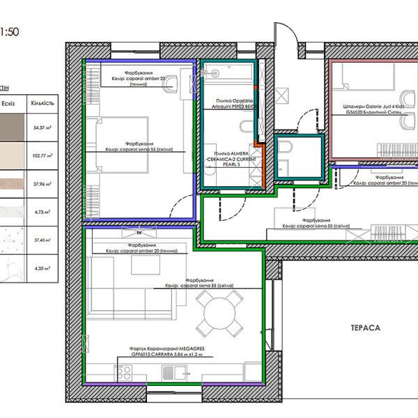 Дизайн-проект інтер'єру будинку смт Бабаї, план оздоблення стін